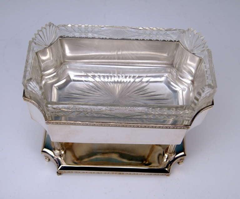 Silver Art Nouveau Centrepiece Original Glass Liner Vienna Austria circa 1900 For Sale 3