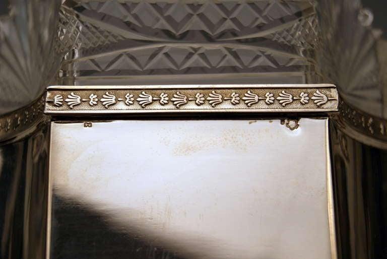 Silver Art Nouveau Centrepiece Original Glass Liner Vienna Austria circa 1900 For Sale 4