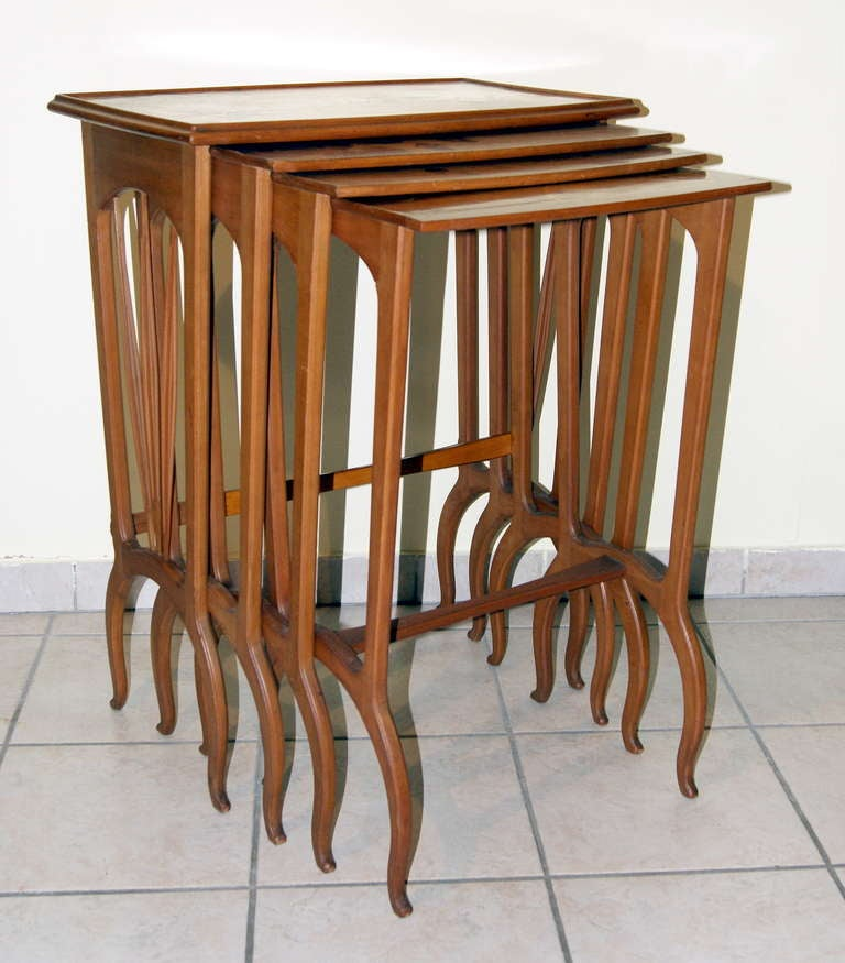 Art Nouveau Louis Majorelle Set of Nesting Tables 'Signed' Nancy France, circa 1900-1905 For Sale
