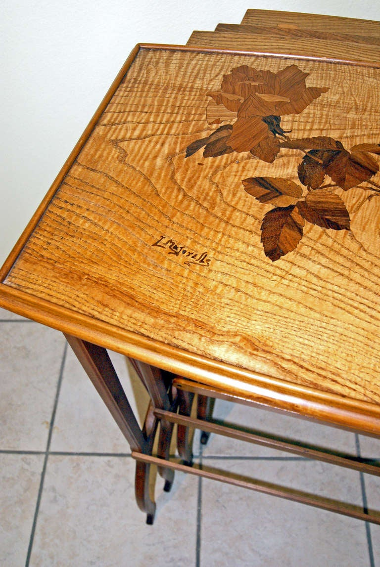 Ash Louis Majorelle Set of Nesting Tables 'Signed' Nancy France, circa 1900-1905 For Sale