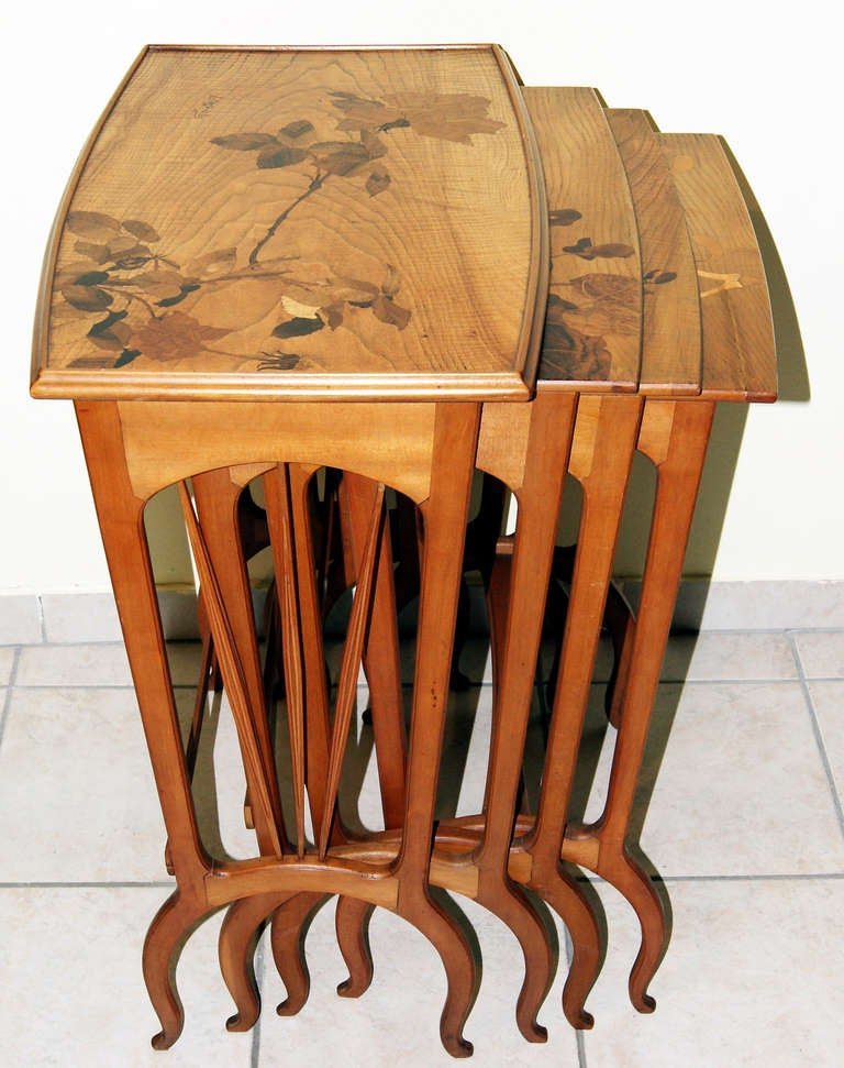 20th Century Louis Majorelle Set of Nesting Tables 'Signed' Nancy France, circa 1900-1905 For Sale