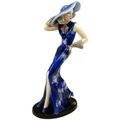 Goldscheider Vienna Elegant Lady With Hat And Gloves By Claire Weiss C.1936