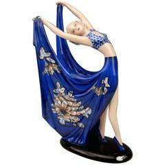 Goldscheider Vienna Lady Dancer Blue Dress By Stefan Dakon C.1938