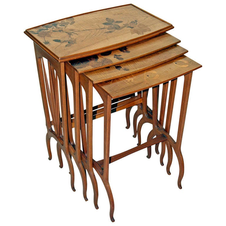 Louis Majorelle Set of Nesting Tables 'Signed' Nancy France, circa 1900-1905 For Sale