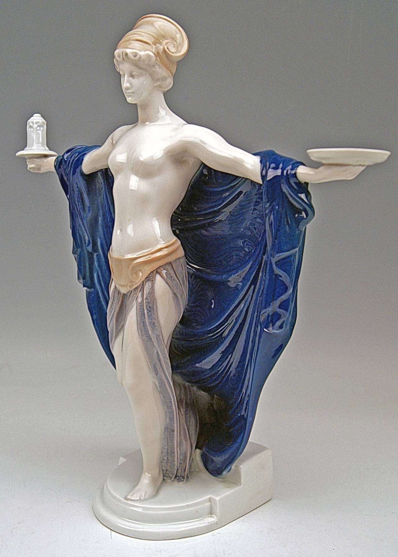 Art Nouveau Rosenthal Germany Rare Figurine Temple Dedication by F. Liebermann, circa 1914 For Sale