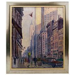 New York By Rudolf Ullik Circle Kokoschka Oil On Canvas 1972