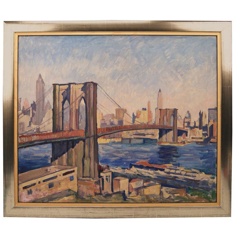 Brooklyn Bridge In New York By Rudolf Ullik Circle Kokoschka Oil On Canvas 1972