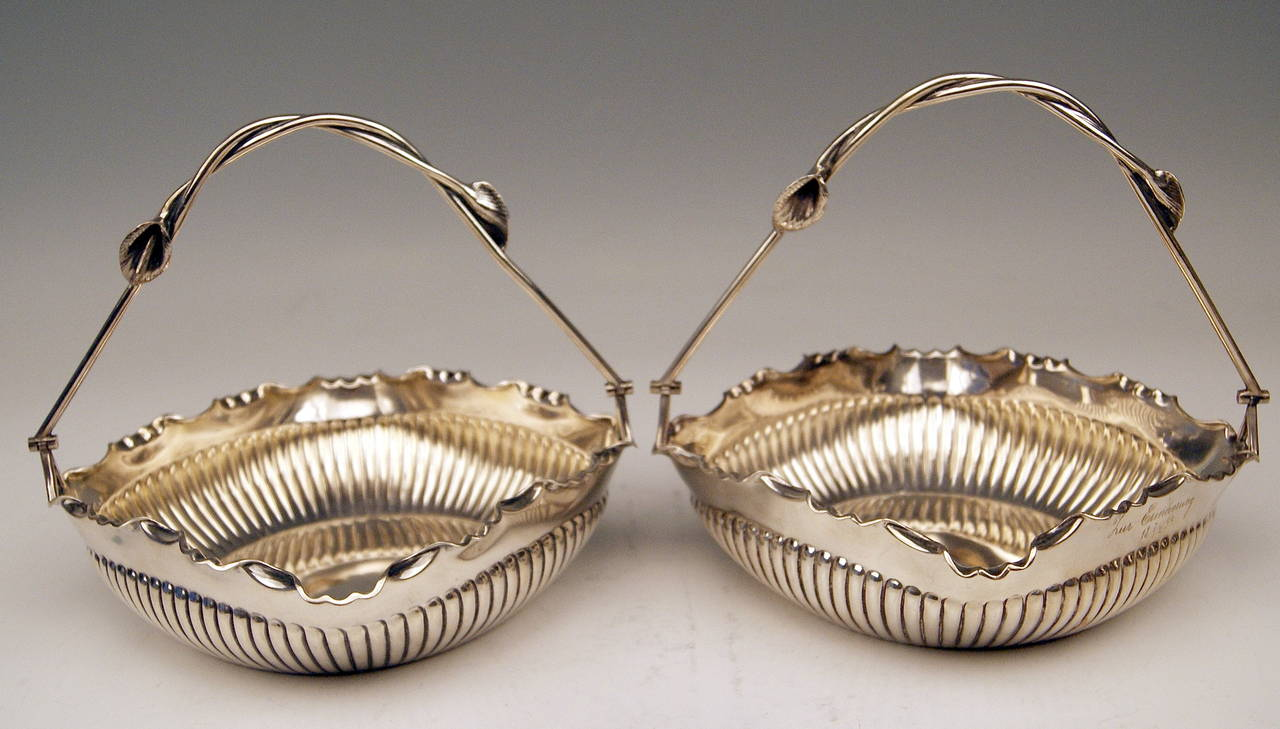 Silver German Pair of Baskets with Handles