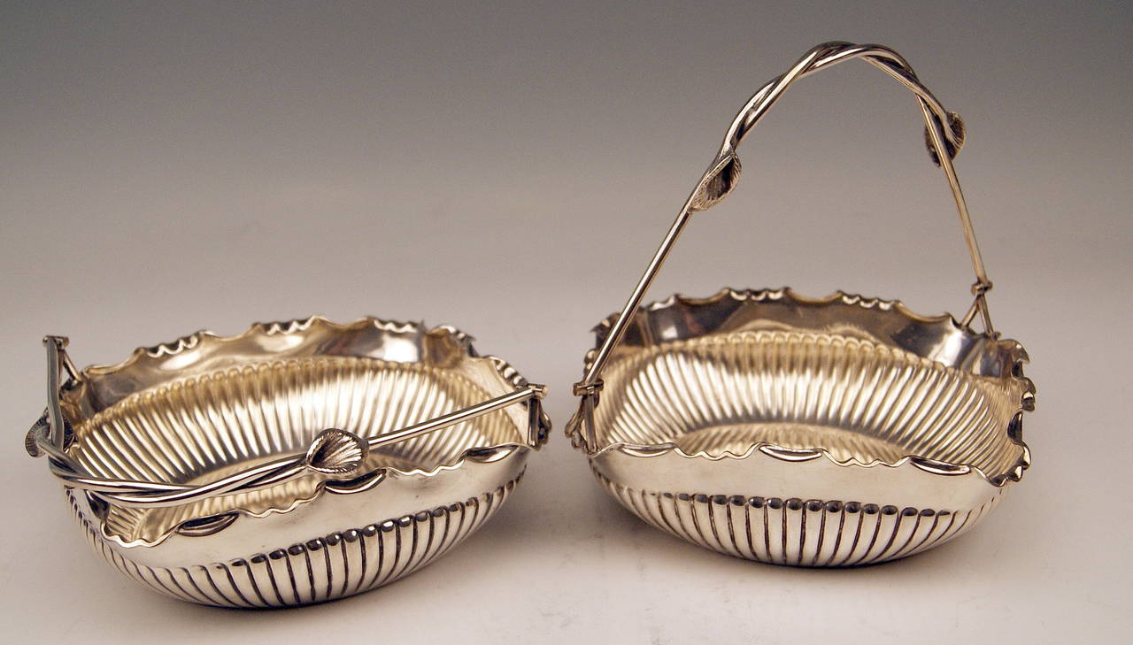 Art Nouveau German Silver Baskets with Handles by W. Binder & Ap, Made before 1899 For Sale