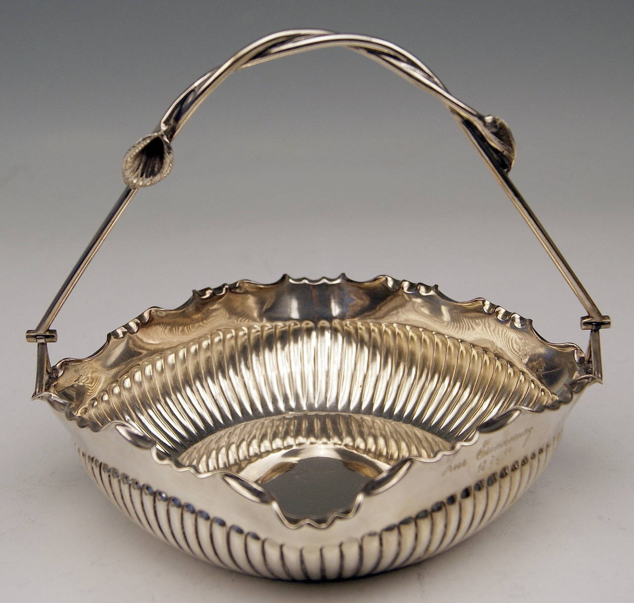 German Silver Baskets with Handles by W. Binder & Ap, Made before 1899 In Excellent Condition For Sale In Vienna, AT