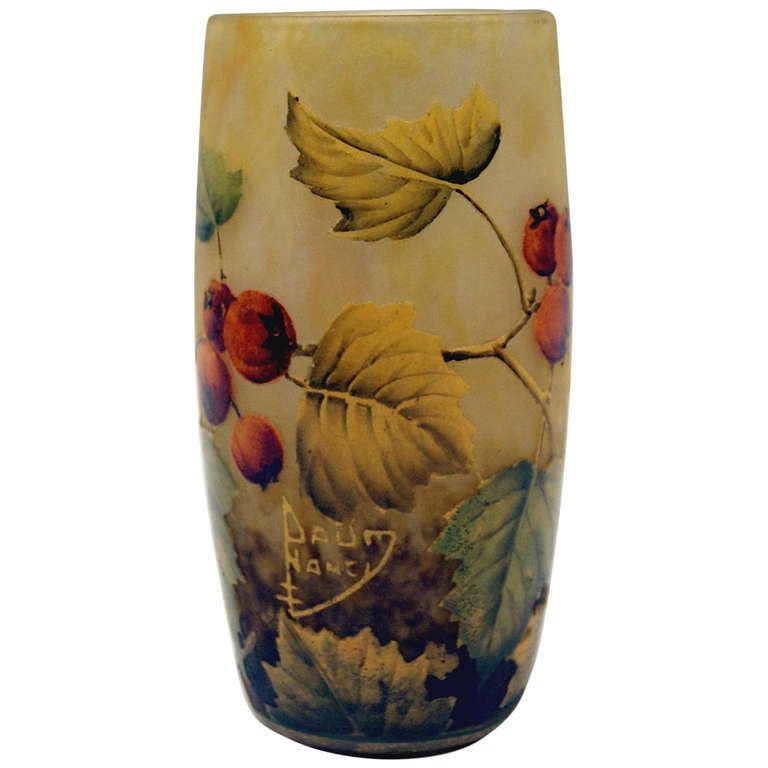 Daum Nancy Vase with Rosehips Art Nouveau France Lorraine 1905 - 1910