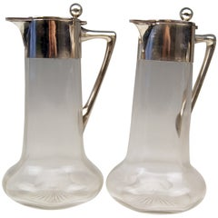 German Silver Glass Decanter Carafes with Silver Mounting by W. Binder c.1900