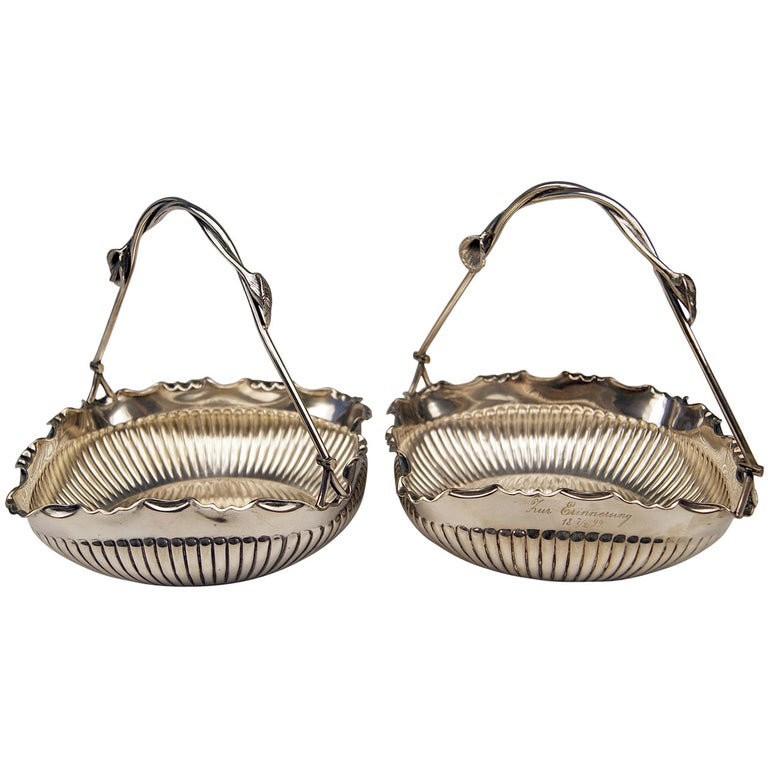 German Silver Baskets with Handles by W. Binder & Ap, Made before 1899 For Sale
