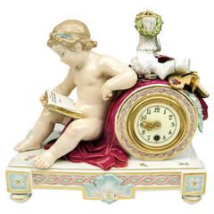 Meissen Superb Table Mantle Clock Vintage Cherub, circa 1870