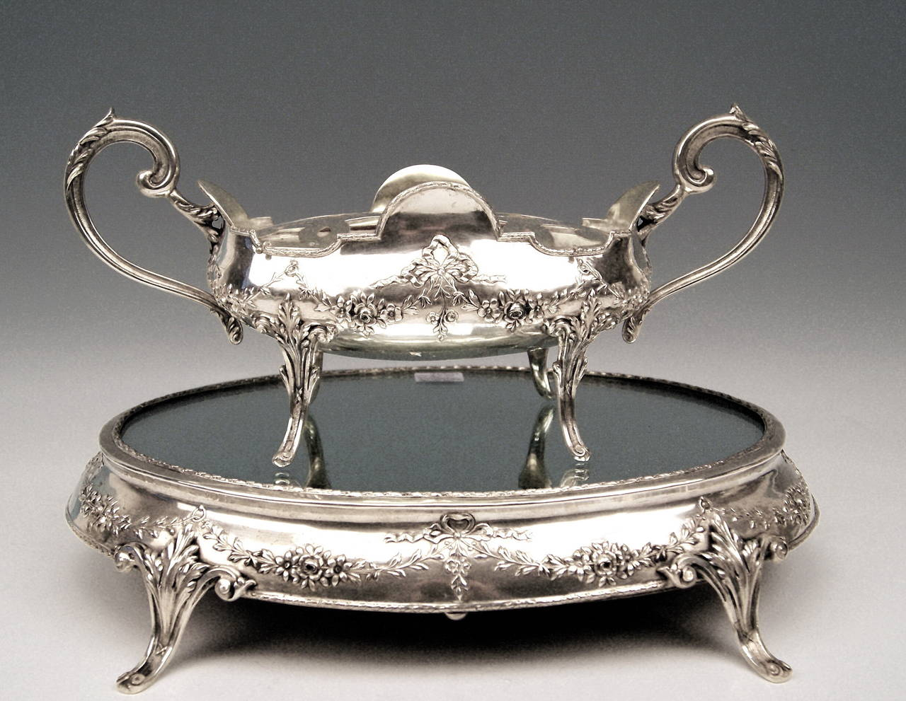 Silver Art Nouveau Rare Flower Bowl with Large Oval Support Made in Porto, 1900 2