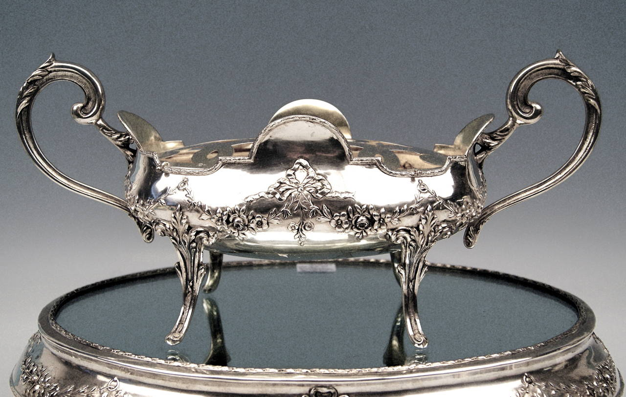 Silver Art Nouveau Rare Flower Bowl with Large Oval Support Made in Porto, 1900 3