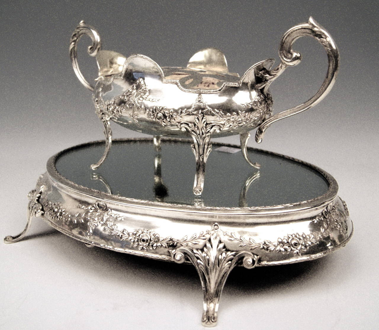 Silver Art Nouveau Rare Flower Bowl with Large Oval Support Made in Porto, 1900 5