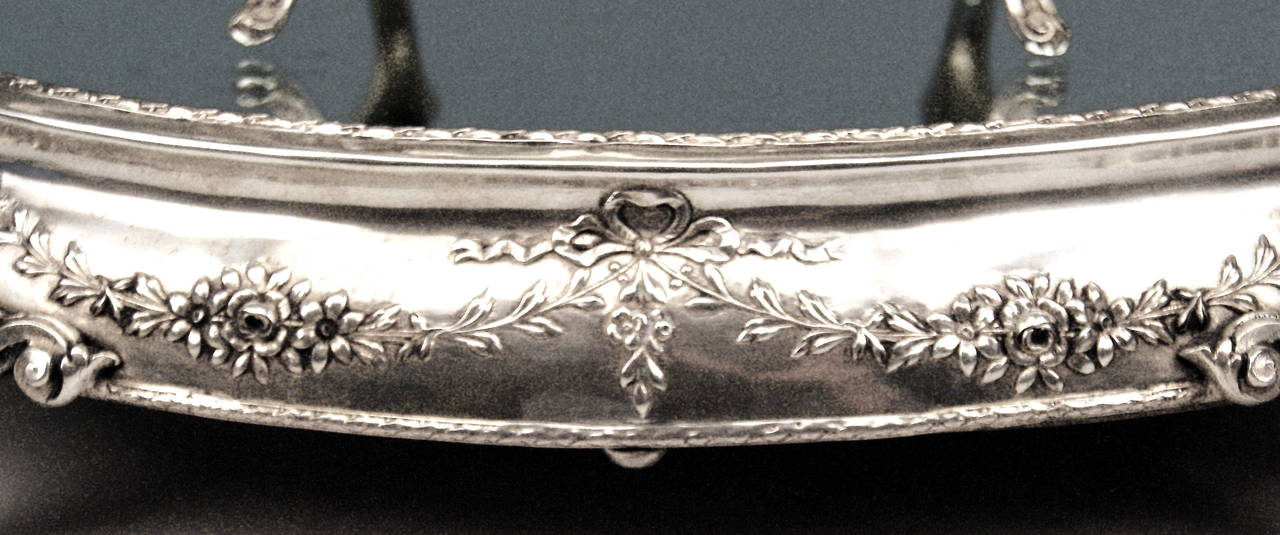 Silver Art Nouveau Rare Flower Bowl with Large Oval Support Made in Porto, 1900 6