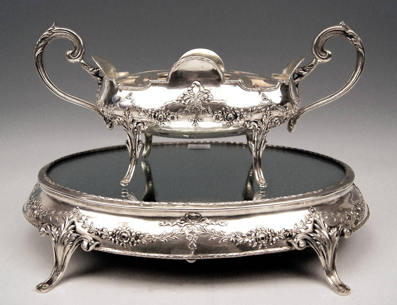 Silver Art Nouveau Rare Flower Bowl with Large Oval Support Made in Porto, 1900 7