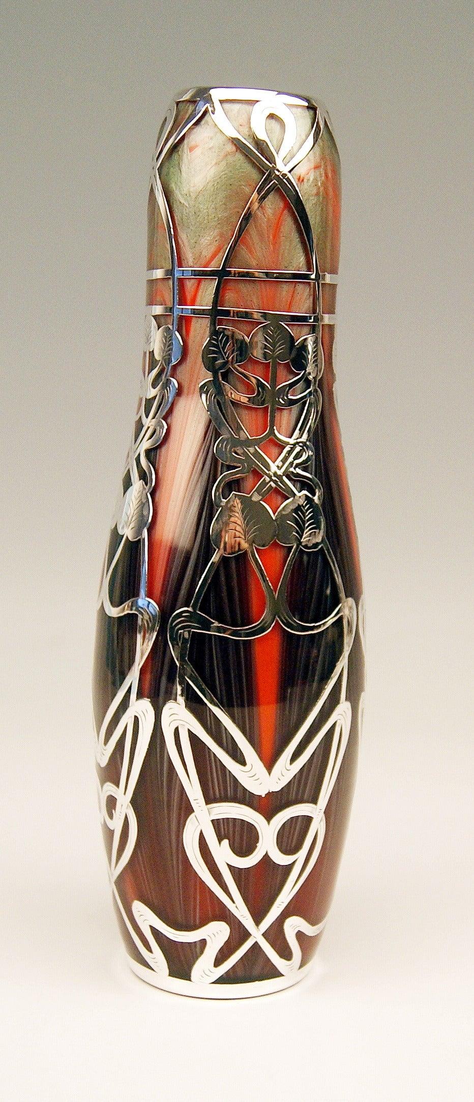 Austrian Vase Loetz Widow Art Nouveau, Titania Gre 2512 Silver Overlay, circa 1906 For Sale