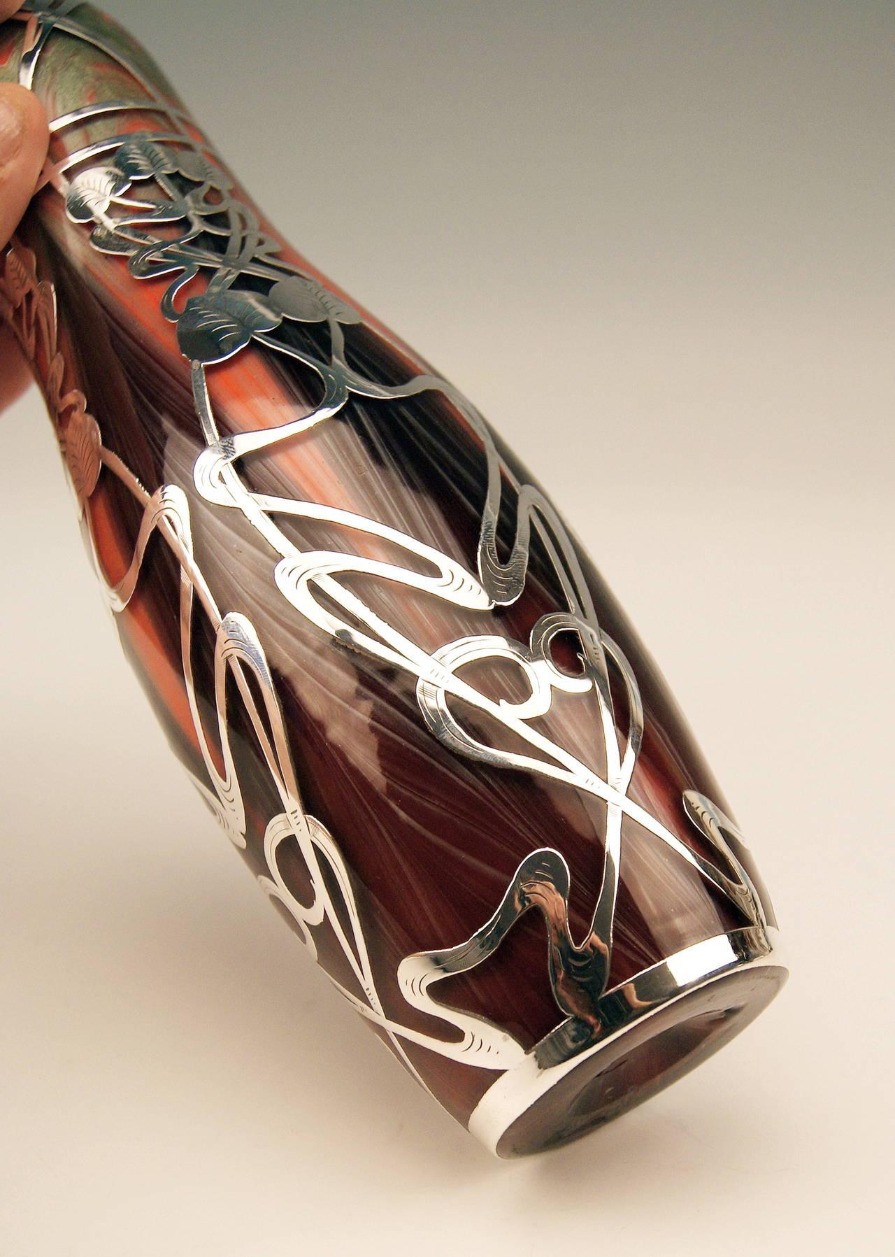 Vase Loetz Widow Art Nouveau, Titania Gre 2512 Silver Overlay, circa 1906 For Sale 1