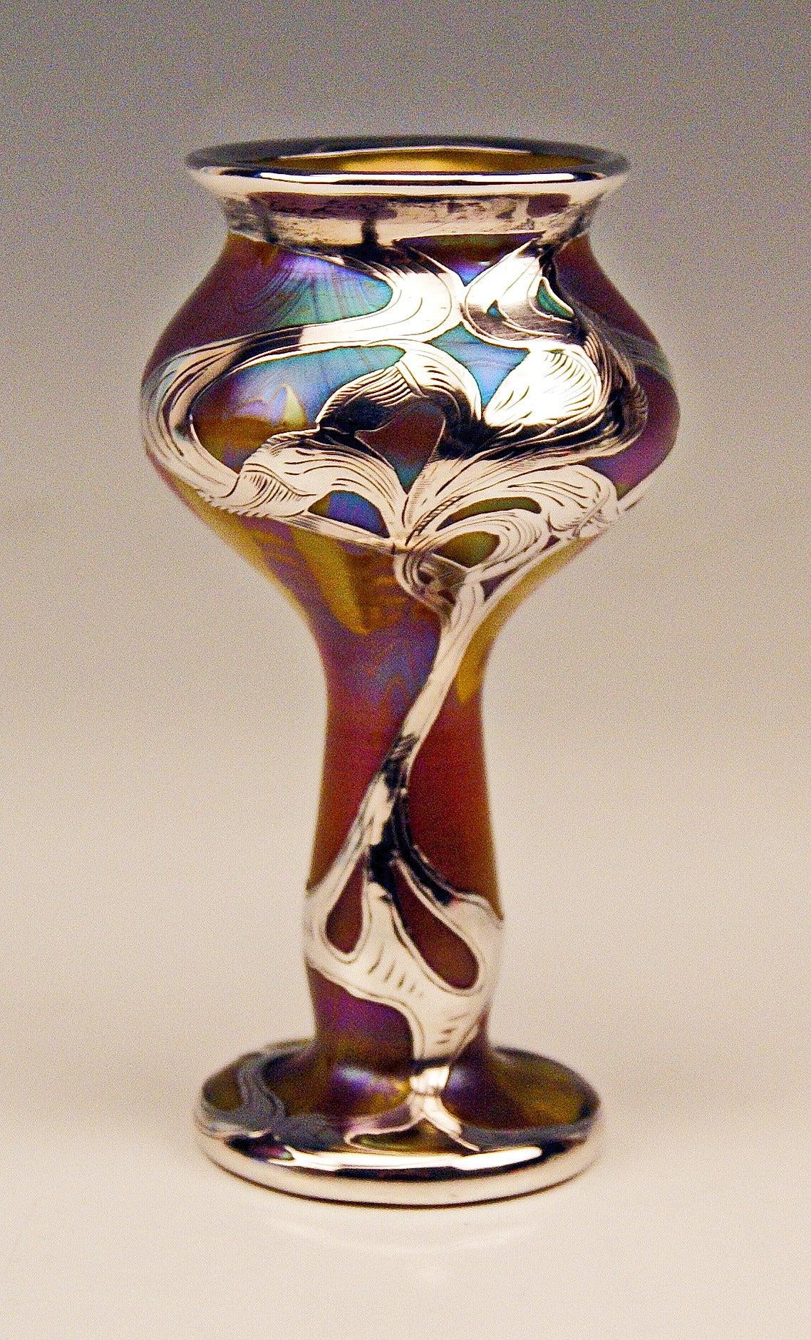 Austrian Vase Loetz Widow Art Nouveau Phaenomen Gre Silver Overlay, circa 1900 For Sale