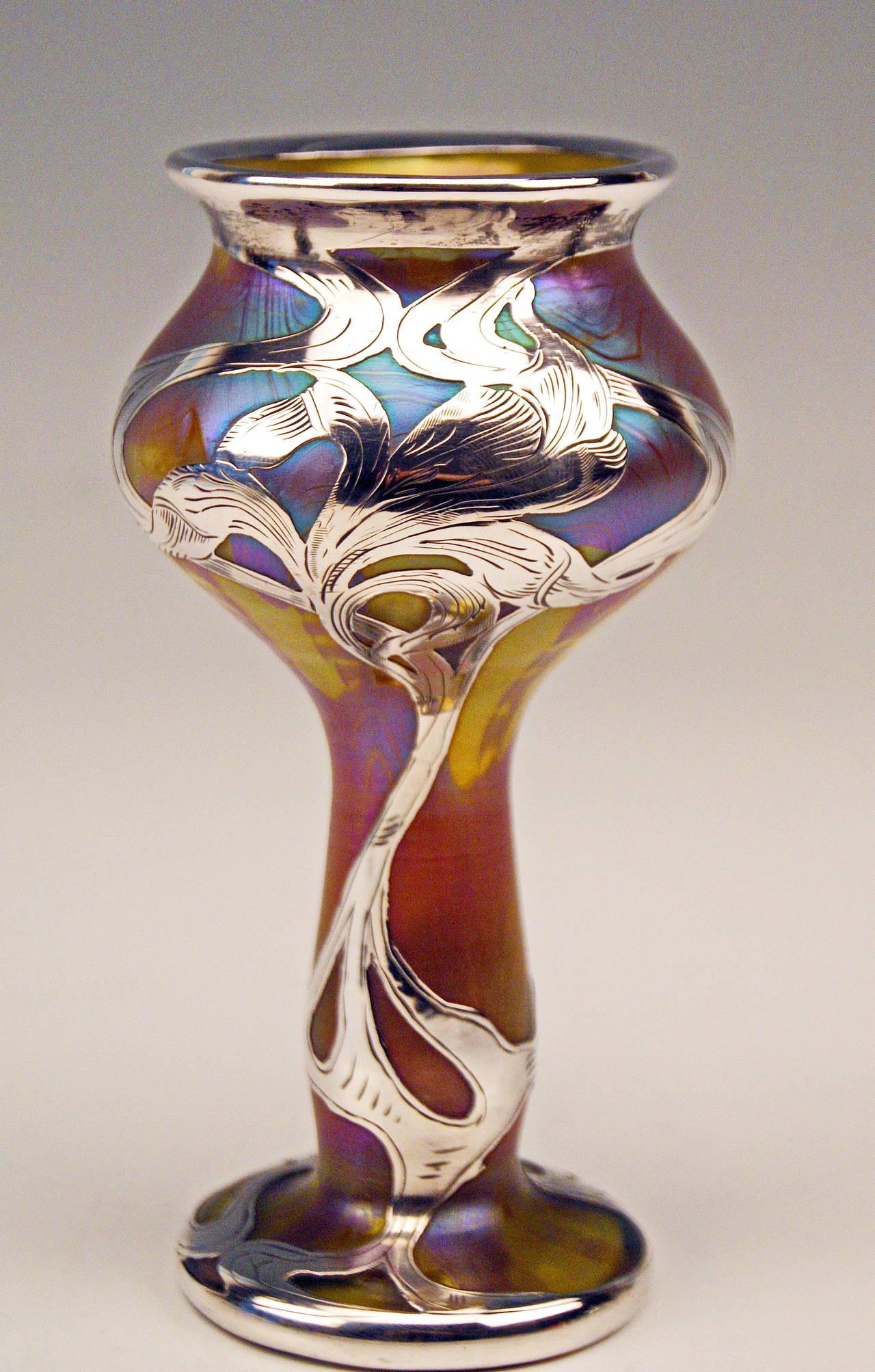 Early 20th Century Vase Loetz Widow Art Nouveau Phaenomen Gre Silver Overlay, circa 1900 For Sale