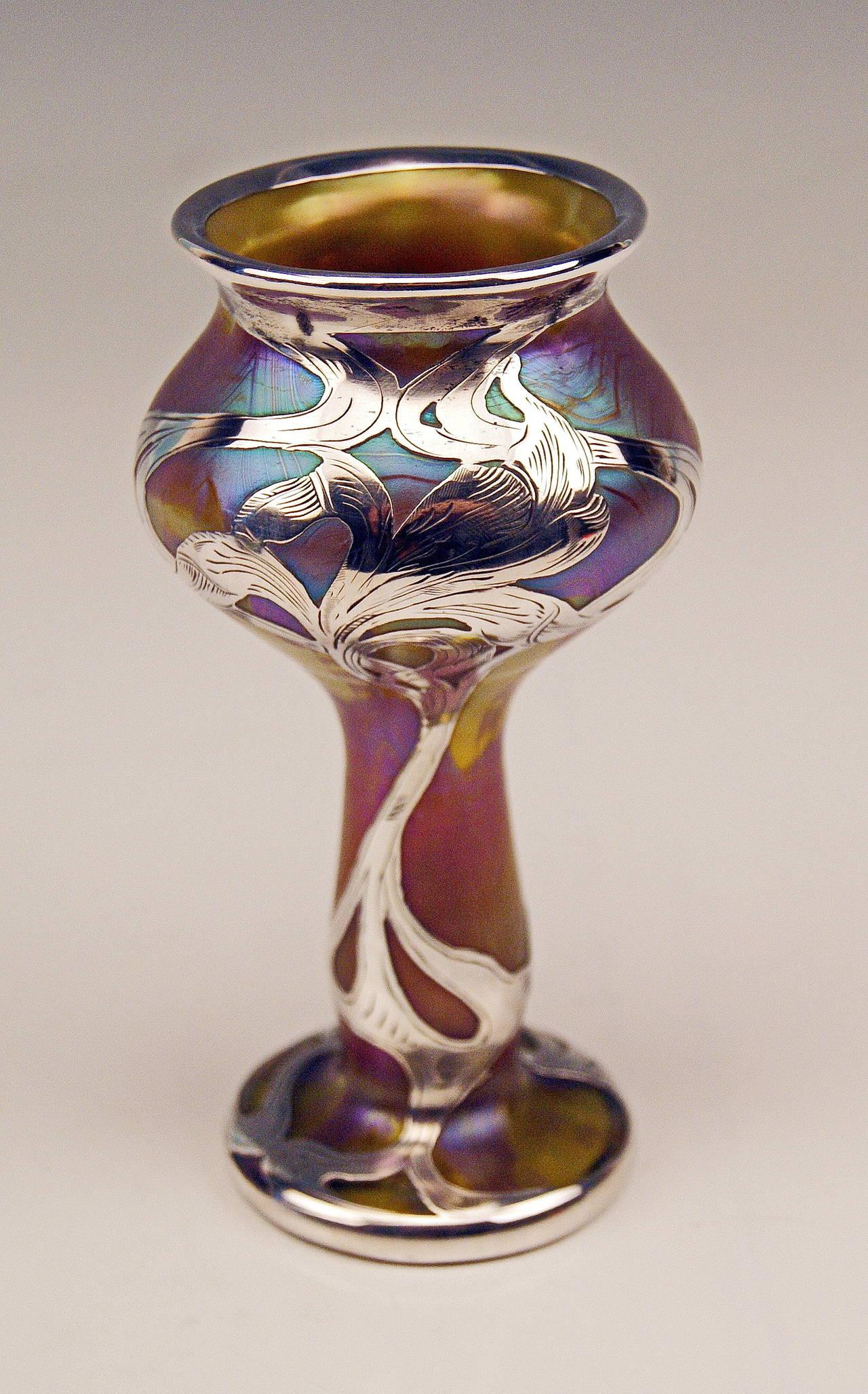Vase Loetz Widow Art Nouveau Phaenomen Gre Silver Overlay, circa 1900 For Sale 3