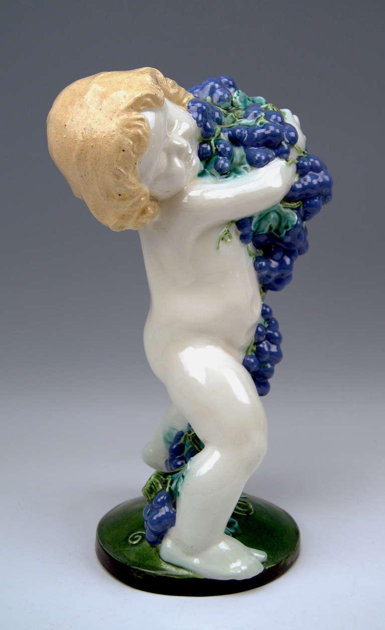 Art Nouveau Michael Powolny Season's Figurine the Fall Lovely Cherub Vienna Signed MP WK For Sale