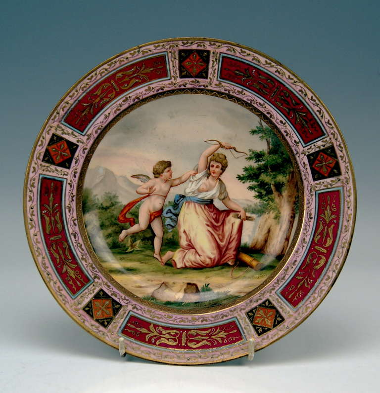 QUITE RARE PICTURE PLATE OF VIENNESE IMPERIAL PORCELAIN MANUFACTORY:
