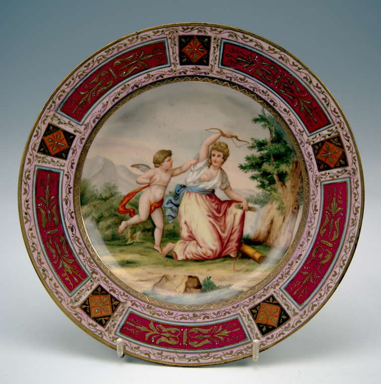 Biedermeier Plate Imperial Viennese Porcelain Manufactory dated 1816 For Sale