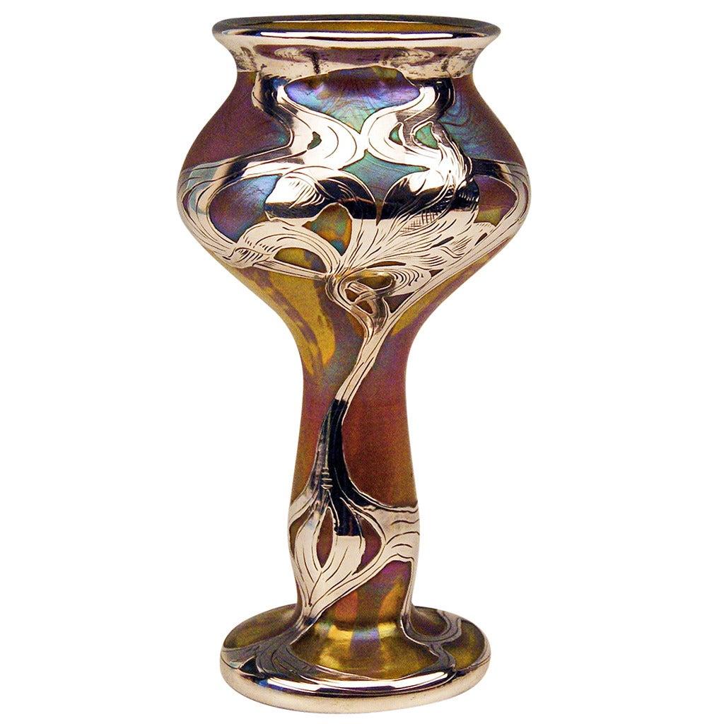 Vase Loetz Widow Art Nouveau Phaenomen Gre Silver Overlay, circa 1900 For Sale