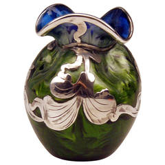 Vase Loetz Widow Art Nouveau, Titania Cobalt Blue Silver Overlay, circa 1905