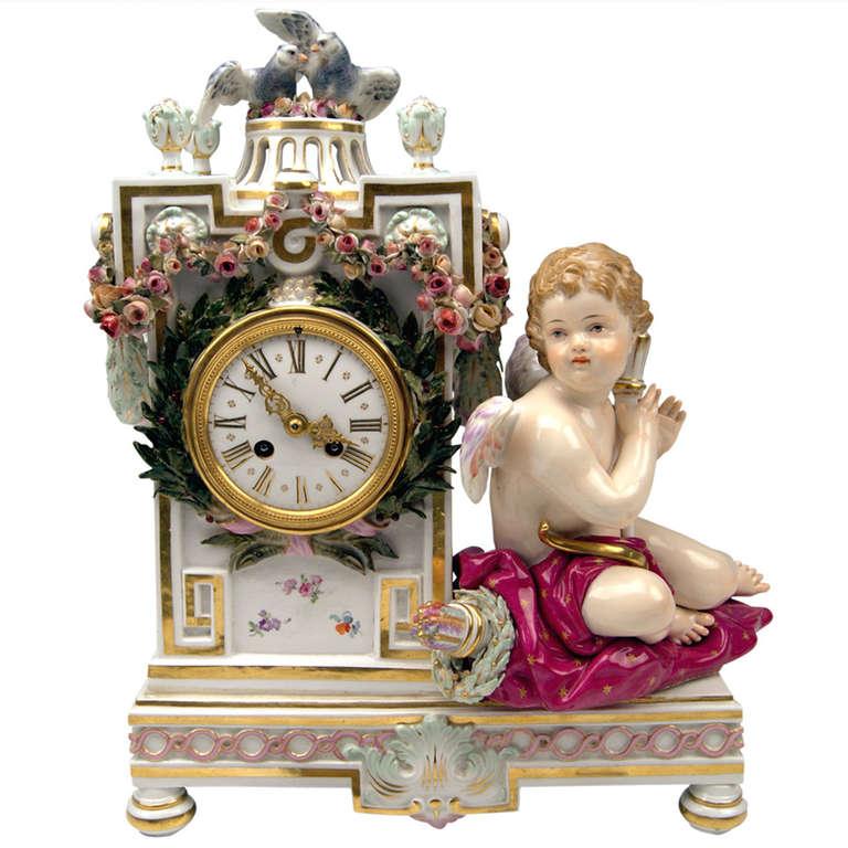 Meissen Gorgeous Table or Mantle Clock circa 1870