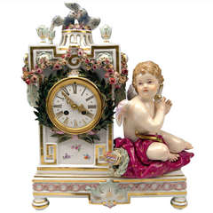 Meissen Gorgeous Table or Mantle Clock circa 1870