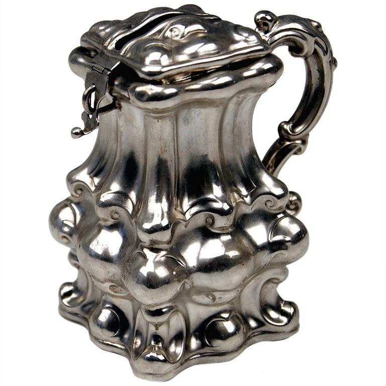 Viennese Silver Money Box/Piggy Bank Austrian Biedermeier Dated 1856 For Sale