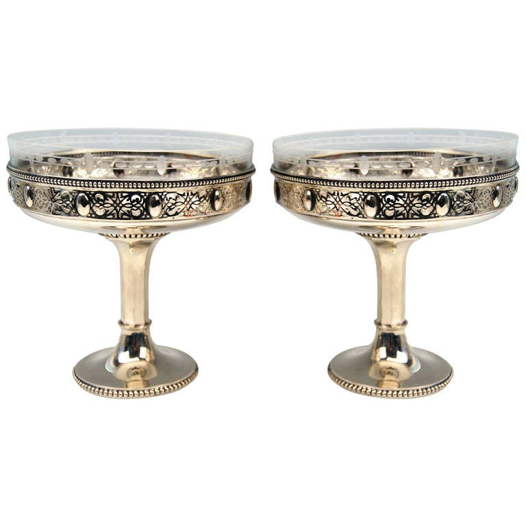 Silver German Pair of Centerpieces with Original Glass Liners circa 1900 For Sale