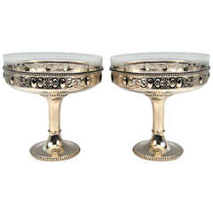 Silver German Pair of Centerpieces with Original Glass Liners circa 1900