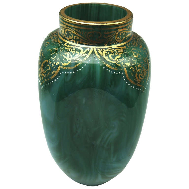 Loetz Widow Klostermuehle Bohemian Art Nouveau Early Vase circa 1893 Decor Malachit