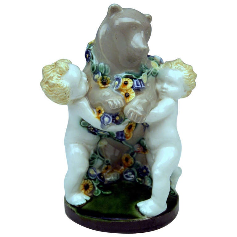 Michael Powolny Lovely Vienna Cherub Figurines Supporting Bear, circa 1907 For Sale