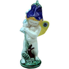 Michael Powolny Vienna So-Said Bellflower Cherub Lovely Figurine