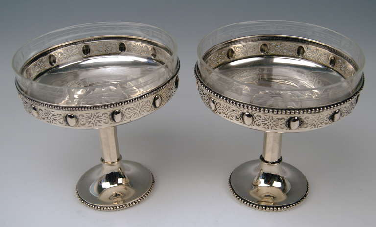 Art Nouveau Silver German Pair of Centerpieces with Original Glass Liners circa 1900 For Sale