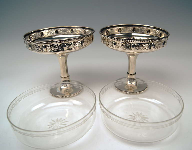 20th Century Silver German Pair of Centerpieces with Original Glass Liners circa 1900 For Sale