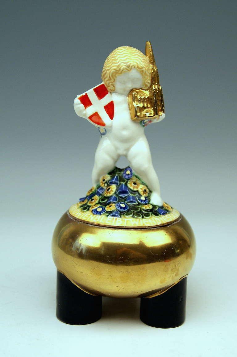 Michael Powolny Lovely Wien Putto Cherub Symbolizing Vienna MP WK, circa 1907 2