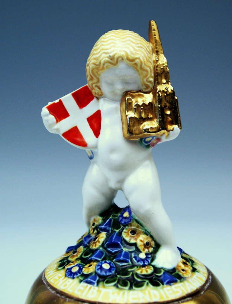 Michael Powolny Lovely Wien Putto Cherub Symbolizing Vienna MP WK, circa 1907 7