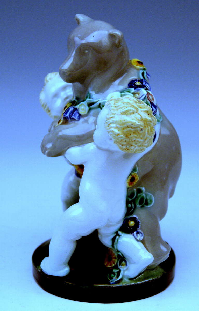 Art Nouveau Michael Powolny Lovely Vienna Cherub Figurines Supporting Bear, circa 1907 For Sale