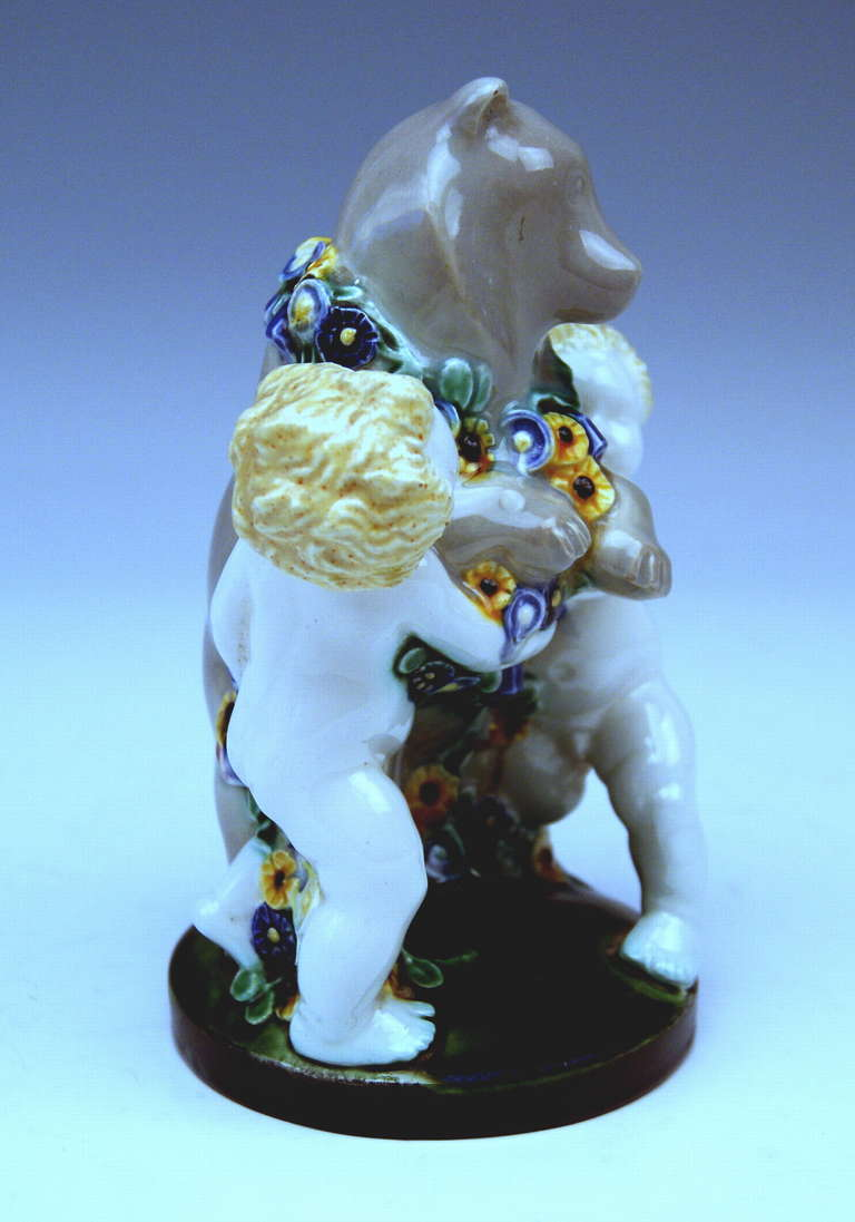 Austrian Michael Powolny Lovely Vienna Cherub Figurines Supporting Bear, circa 1907 For Sale