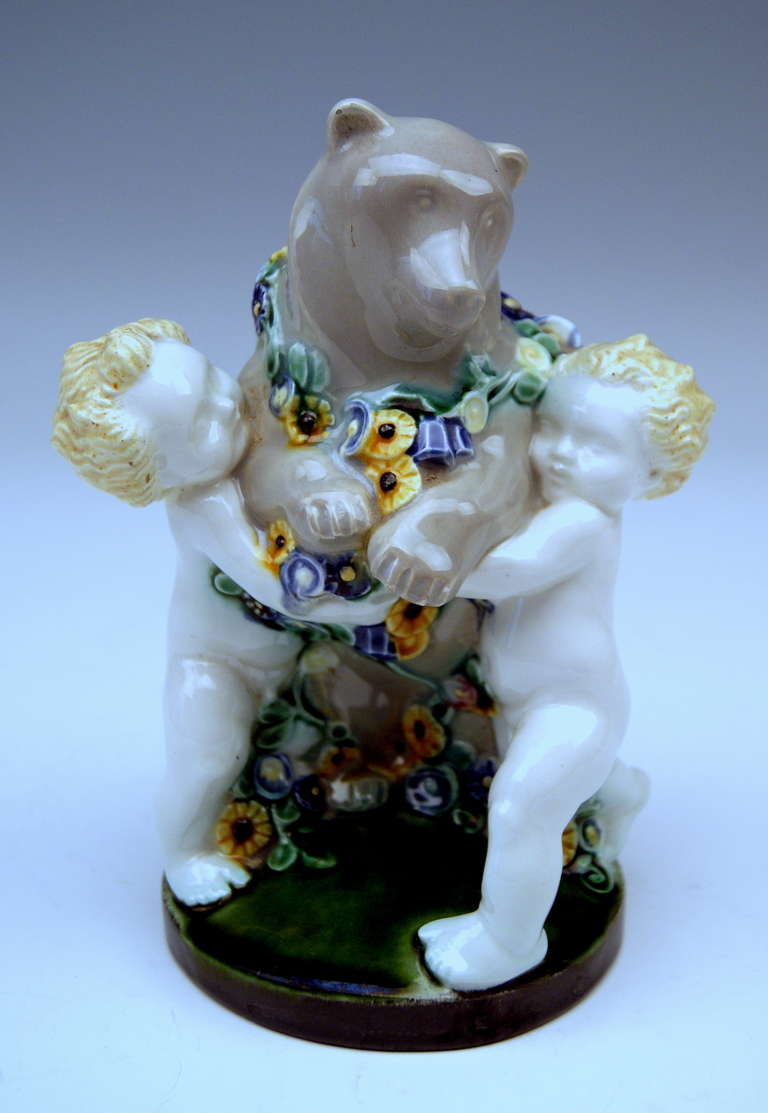Michael Powolny Lovely Vienna Cherub Figurines Supporting Bear, circa 1907 In Excellent Condition For Sale In Vienna, AT