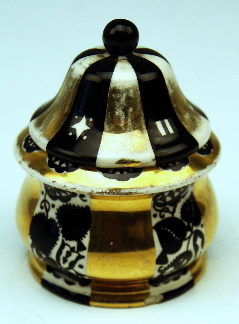 Austrian Michael Powolny & Dagobert Peche Art Nouveau Vienna Lidded Bowl, circa 1913-1915 For Sale