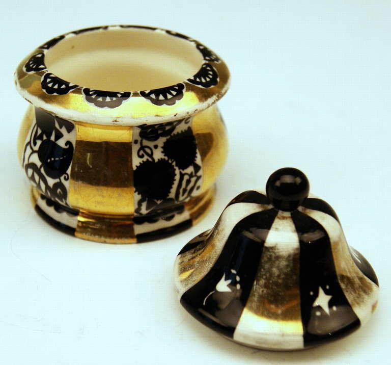 20th Century Michael Powolny & Dagobert Peche Art Nouveau Vienna Lidded Bowl, circa 1913-1915 For Sale